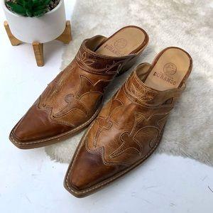 Durango   Western Tan Leather Mules Size 8.5